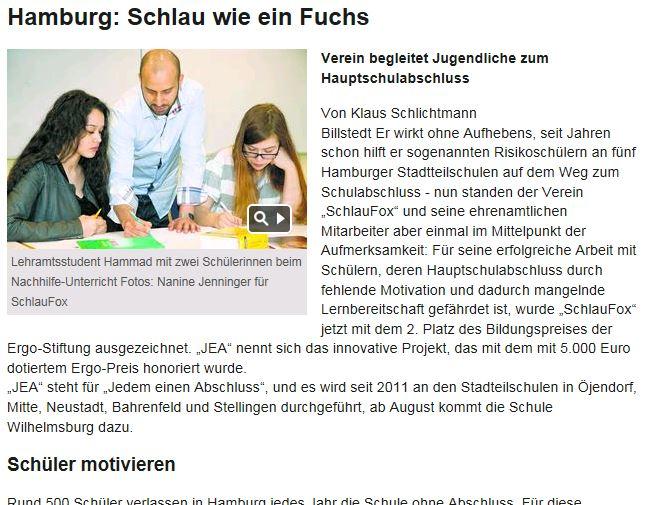 Hamburger Wochenblatt über JEA!